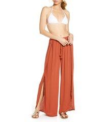 women's chelsea28 ana smocked split leg pants, size x-large - brown