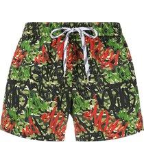 nos beachwear camouflage print swim shorts - green