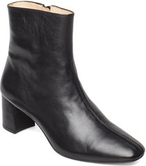 bootie - block heel - with zippe shoes boots ankle boots ankle boots with heel svart angulus