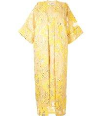 bambah isabella floral print kaftan and dress - yellow
