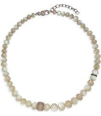 black rhodium-plated sterling silver, grey moonstone & diamond necklace