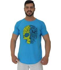 camiseta longline alto conceito caveira matagal azul piscina - azul - masculino - algodã£o - dafiti
