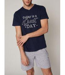 pyjama's / nachthemden admas for men indoor pyjamashort t-shirt grote dag admas