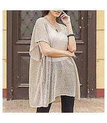 knit tunic, 'beige dreamcatcher' (peru)