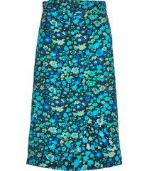 silk mix skirt knälång kjol blå ganni