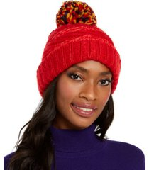 inc chenille striped multi-pom beanie, created for macy's