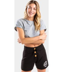 ashton button lounge shorts - black
