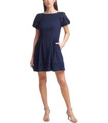 jessica howard petite puff-sleeve fit & flare dress