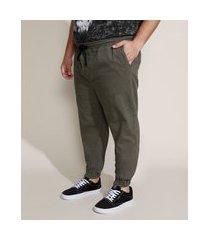 calça de sarja masculina plus size jogger skinny verde militar