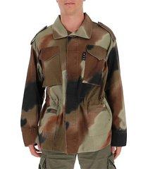 arrow-motif camouflage shirt jacket