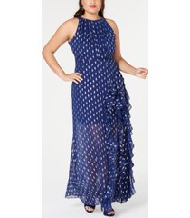 betsy & adam plus size ruffled metallic-print gown