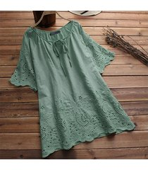 zanzea mangas cortas ojo de la cerradura largo tapas de la camisa de la manga acampanada ganchillo de la blusa del tamaño extra grande -verde