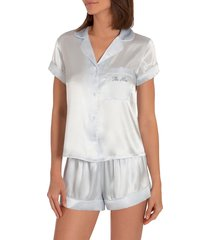 women's in bloom by jonquil the mrs satin short pajamas, size x-small - blue
