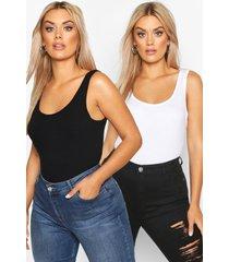 plus basic hemdje met brede bandjes (2 stuks), zwart