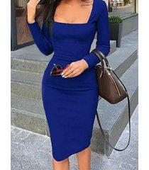 cuadrado azul cuello bodycon de manga larga vestido