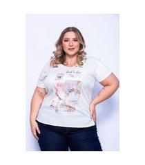 t-shirt miss musa plus size frente no tecido crepe e costas na malha viscolycra off