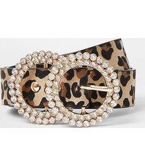 river island girls brown leopard print diamante belt