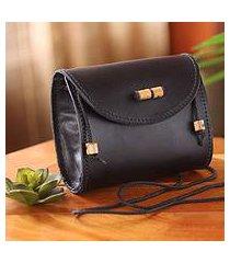 leather shoulder bag, 'never without black' (ghana)
