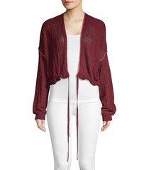 free people women's knit cotton cardigan - wine - size xs