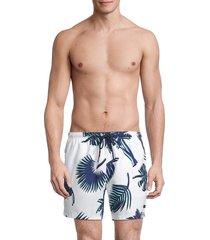 boss hugo boss men's piranha palm-print swim shorts - white - size l