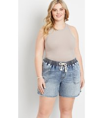 maurices plus size womens blue denim weekender 6in shorts