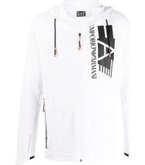 ea7 emporio armani high collar zipped hoodie - white