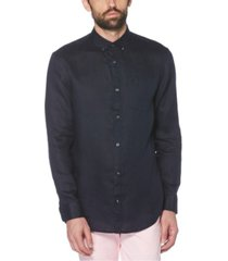 original penguin men's washed linen long sleeve button-down shirt