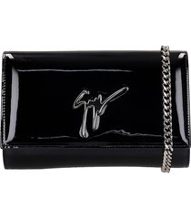 giuseppe zanotti cleopatra shoulder bag in black patent leather