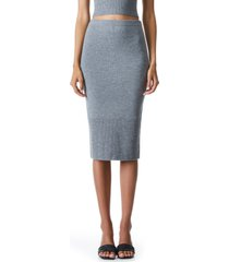 alice + olivia leo wool blend knit pencil skirt, size large in medium heather grey at nordstrom