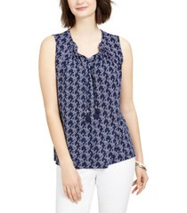 charter club petite textured anchor-print tassel top, created for macy's
