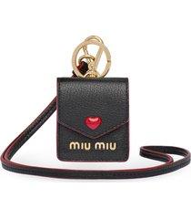 miu miu madras love earbud case 6.5cmx5cm - black