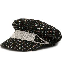 venna crystal-strap tweed baker boy hat - black