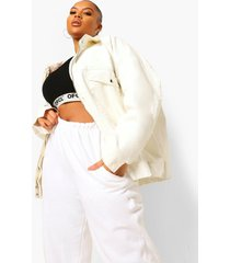 plus oversized bomberjack met denim coating, white
