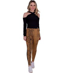 calça miss misses legging com animal print mostarda