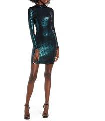 women's speechless glitter long sleeve body-con dress