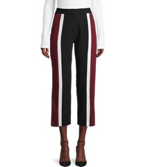 kenzo women's high-rise cropped striped pants - black red - size 40 (8)