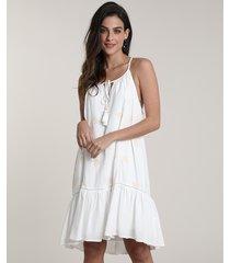 vestido feminino salinas curto com bordado de gaivotas alças finas off white