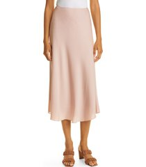 nordstrom signature bias cut stretch silk skirt, size 8 in pink adobe at nordstrom