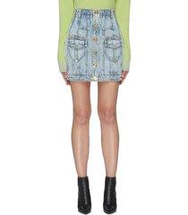 acid wash buttoned denim skirt