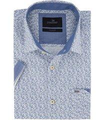 vanguard shirt korte mouw wit blauw geprint