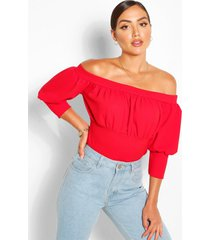 crepe gathered off the shoulder top, red