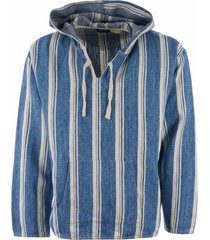 levi's made and crafted linen hoodie - stripe blue 478230001