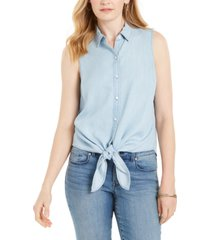 charter club petite cotton chambray tie-front top, created for macy's