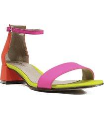 sandalia de cuero multicolor felmini neon