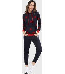 sudadera para mujer conjunto hoodie azul navi estrellas rojo