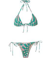 amir slama geometric print bikini set - green