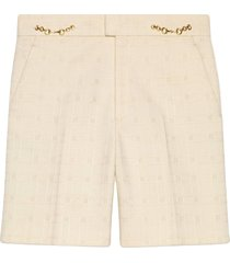 gucci horsebit tweed shorts - white