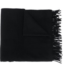 a.p.c. fringed knit scarf - black