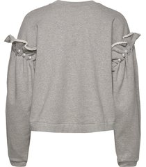dani cropped jumper with pearl shoulder sweat-shirt tröja grå mother of pearl
