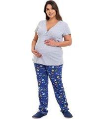 pijama gestante plus size astronauta luna cuore feminino - feminino